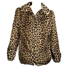 Multicolor Leopard-Print Fur Bomber Jacket