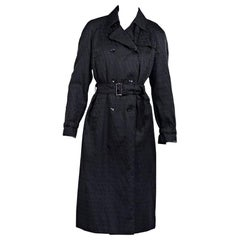 Black Fendi Double-Breasted Logo Trench Coat