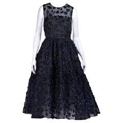 Black & Navy Blue Oscar de la Renta Fil Coupe Cocktail Dress