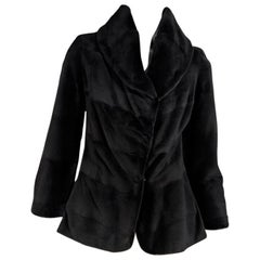 Dark Brown Dennis Basso Sheared Mink Fur Coat