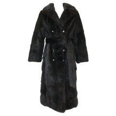 1960s Christian Dior Deep Brown, Almost Black, Fur Coat w Tie Belt