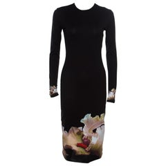 Givenchy Black Floral Printed Jersey Long Sleeve Bodycon Dress M