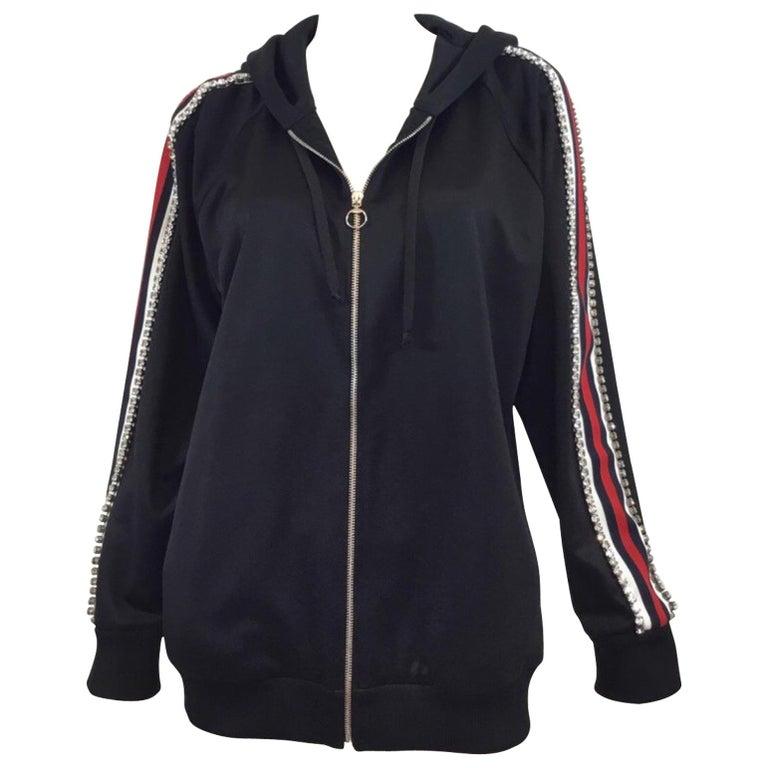 ef04ba2b983 Gucci Tech-Jersey Zip Sweater with Swarovski Crystal Embellishing NWT For  Sale