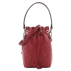 Fendi Mon Tresor Bucket Bag Zucca Embossed Leather Mini
