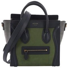 Celine Bicolor Luggage Handbag Nubuck Nano