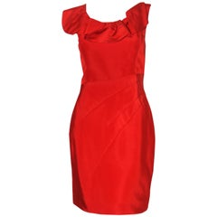 Oscar de la Renta Holiday Red Ruffle Collar Cocktail Dress
