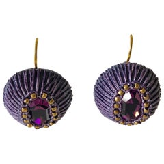 Gilt Purple Artisanal Drop Statement Earrings