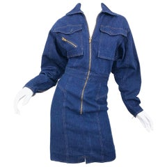 Avant Garde 1980s Denim Size 8 Blue Jeans Long Sleeve Vintage 80s Moto Dress