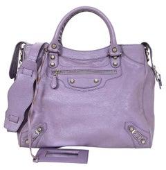 Balenciaga Lavender Chevre Leather Giant 12 Silver Velo Messenger Bag W/ Mirror