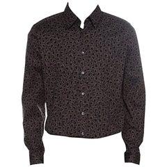 Gucci Dark Brown Leopard Printed Cotton Button Front Shirt 3XL