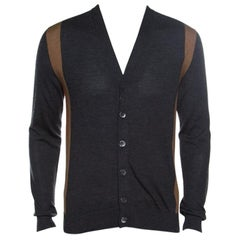 Gucci Dark Grey Wool and Cashmere Blend Button Front Colorblock Cardigan M
