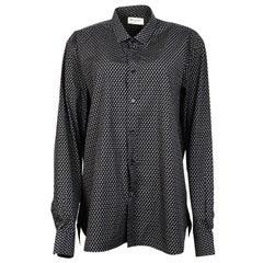 Saint Laurent Black/White Paisley Men's Shirt Sz L