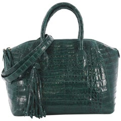 Nancy Gonzalez Convertible Tassel Zip Satchel Crocodile Medium