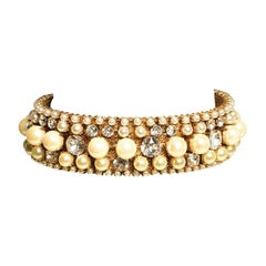 EB Pearl and Crystal Collar Necklace