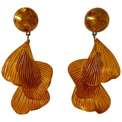 Orange Architectural Wave Statement Earrings