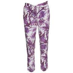 Gucci White and Purple Peacock and Floral Printed Silk Pants S