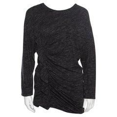 Isabel Marant Etoile Grey Melange Jersey Ruffled Long Sleeve Malo Top M