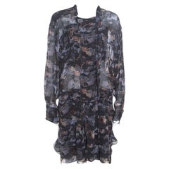 Isabel Marant Grey Printed Silk Belted Carla Dress M