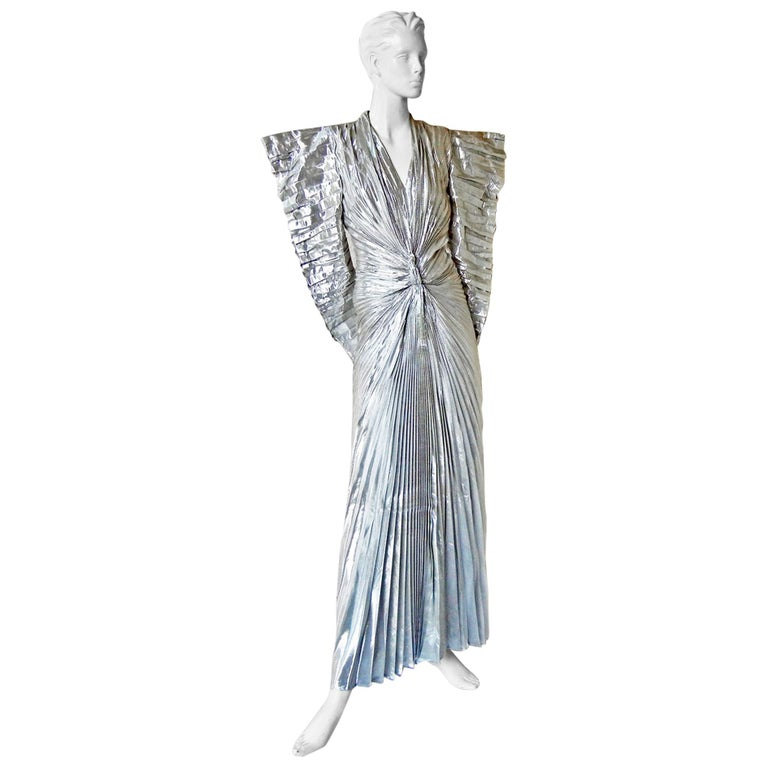 "Thierry Mugler 1979 ""The Future is Now"" Silver Lame Futuristic Dress   For Sale"