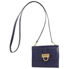Purple Salvatore Ferragamo Lizard Crossbody Bag