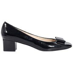 Black Salvatore Ferragamo Patent Leather Kitten Heels
