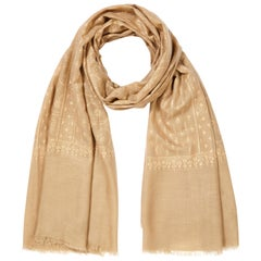 Hand Embroidered  100% Cashmere Shawl in Camel Beige Made in Kashmir India