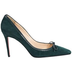 Green Christian Louboutin Suede Pumps