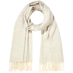 Scottish 100% Cashmere Shawl in Ivory Grey Print