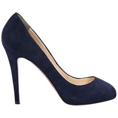 Navy Blue Christian Louboutin Suede Pumps