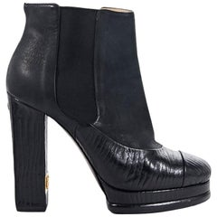Black Chanel Suede & Leather Platform Ankle Boots