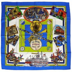 Hermes Vintage Silk Carre Scarf New Orleans Creole Jazz by Loïc Dubigeon