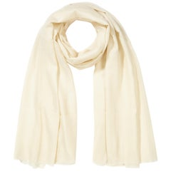 Lightweight 100% Cashmere Shawl in Ivory Cream