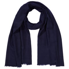 Large Handwoven 100% Cashmere Shawl in Navy made in Kashmir India