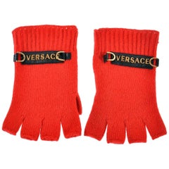 NEW VERSACE RED 100% CASHMERE GLOVES for MEN