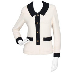 A 1990s Vintage Black And White Chanel Blazer Jacket