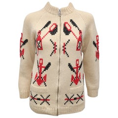1950's Nautical Motif Chunky Cardigan Sweater Jacket