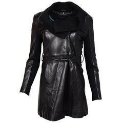 Elie Tahari Black Leather Belted Coat W/ Knit Cowl Neck Collar Sz XS