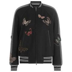 Valentino Butterfly Beaded Virgin-Wool Bomber Jacket