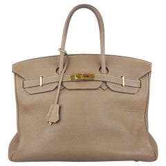 Hermes Taupe Togo Leather Birkin 35 Top Handle Bag Satchel