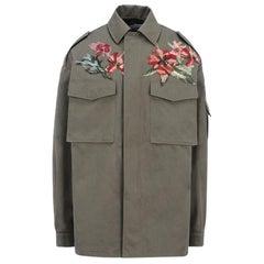 Valentino Floral Embroidered Cotton Safari Jacket