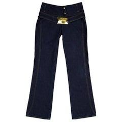 Dolce & Gabbana Blue Jeans W Gold Logo Buckle Sz 38
