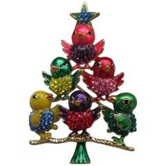 Butler Wilson Designer BW Enamel and Crystal Chick Bird Tree Brooch Pin