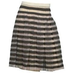 Marc Jacobs Beige/Brown Striped Wool Blend Pleated Skirt W/ Slip Sz XS