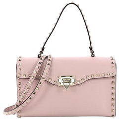 Valentino Rockstud Flip Lock Top Handle Bag Leather Small