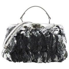 Fendi Peekaboo Handbag Paillettes Embellished Leather Mini
