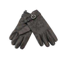 NEW VERSACE STUDDED BLACK RUNWAY LEATHER GLOVES for MEN