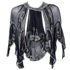 1920's French Beaded Rhinestone Floral Motif Black Chiffon Scalloped Capelet