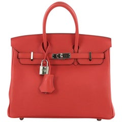 Hermes Birkin Handbag Rouge Tomate Swift with Palladium Hardware 25