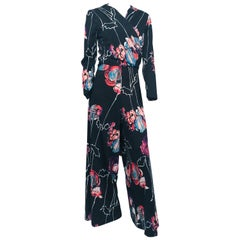 1970s Black Two-Piece Pant and Top Set