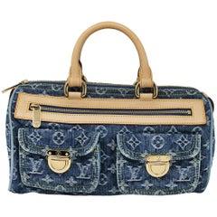 Louis Vuitton Neo Speedy Denim Monogram Handbag With Dust Bag